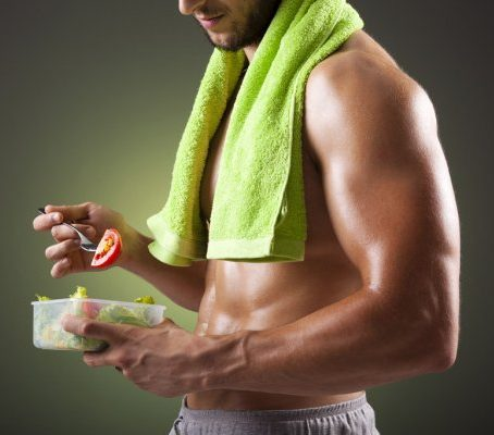 Fitness man With Chicken broccoli diet
